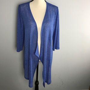 NWT Clara Sun Woo drape front open cardigan blue